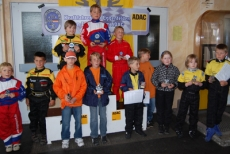 Happy winners of youth kart slalom